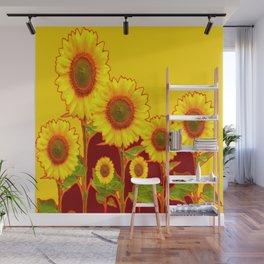 YELLOW-BURGUNDY COLOR SUNFLOWER ART Wall Mural
