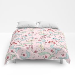 Mermaids and Roses on Pink Comforters