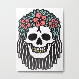 Crown Floral Lei Moana Skull Hawaiian Metal Print