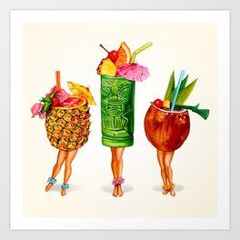 Tiki Cocktail Pin-Ups Art Print
