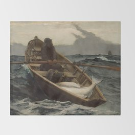 The Fog Warning / Halibut Fishing by Winslow Homer Throw Blanket