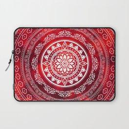 'Scarlet Destiny' Red & White Flower Of Life Boho Mandala Design Laptop Sleeve