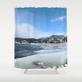 Watercolor Landscape Frozen Lake Estes, CO Shower Curtain
