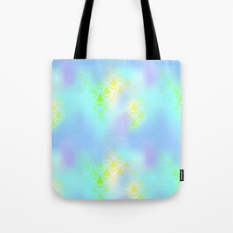 Blue Green and Yellow Mermaid Tail Abstraction. Magic Fish Scale Pattern Tote Bag