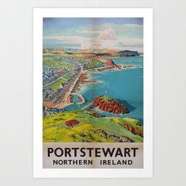 Portstewart Vintage Travel Poster Art Print