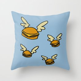 flying cheeseburgers Throw Pillow