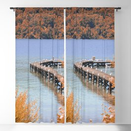 Bridge over the Lake in Autum | Bariloche, Argentina | Travel Photography Blackout Curtain
