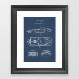 Muscle Car Blueprint Framed Art Print