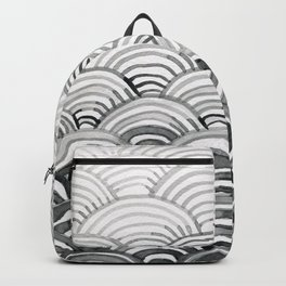 Gray Scallop Pattern Backpack