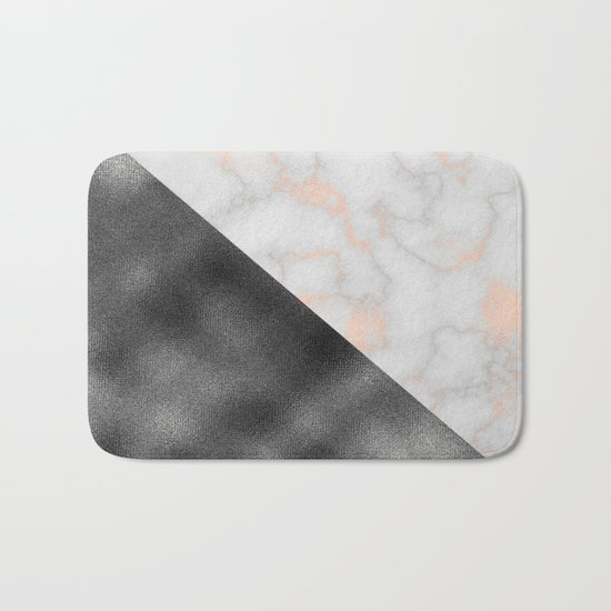 Rose gold marble and gunmetal grey storm Bath Mat