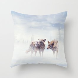 Two coyotes walking  in the winter snow Throw Pillow