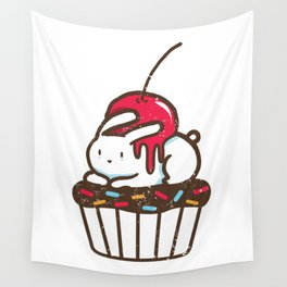 Chubby Bunny on a cupcake Wall Tapestry