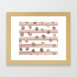 Golden dots on blush watercolor stripes Framed Art Print