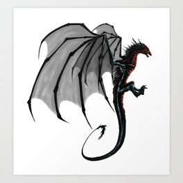 black and red Dragon Art Print