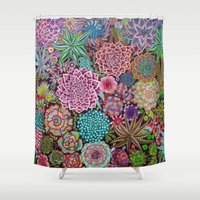 succulents Shower Curtains featuring Succulents by gwolly