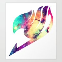 fairy tail Art Prints featuring Galaxy Fairy Tail Logo by ZipZapAttack