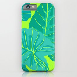 Giant Elephant Ear Leaves in Neon Lime Green iPhone Case