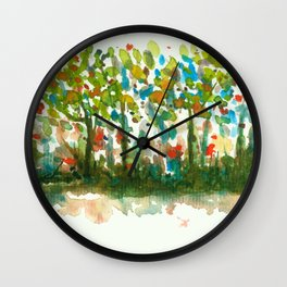 Silent Woods, Abstract Watercolors Landscape Art Wall Clock