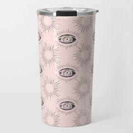 Sun and Eye of wisdom pattern - Pink & Black - Mix & Match with Simplicity of Life Travel Mug