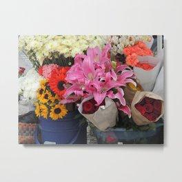 Cuenca Flower Market Metal Print
