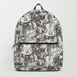 rockabilly doodle brown granite Backpack
