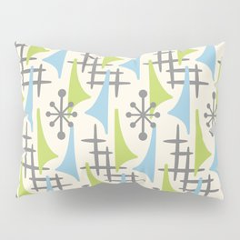 Mid Century Modern Atomic Wing Composition 92 Blue Chartreuse and Gray Pillow Sham