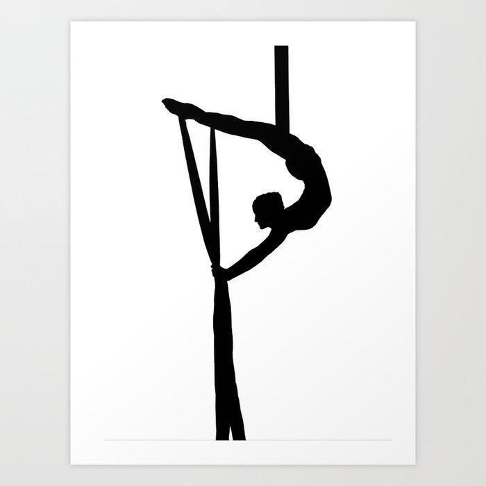 Aerial Silk Artist Silhouette Art Print By Spiltsugar