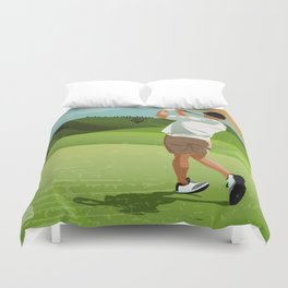 Mountain Golfer Duvet Cover