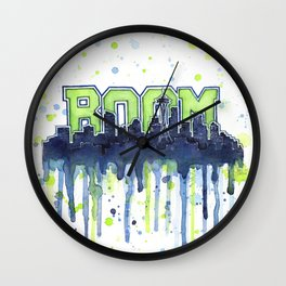 Seattle 12th Man Seahawks Painting Legion of Boom Art Wall Clock
