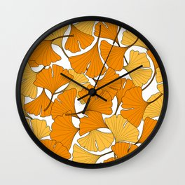 ginkgo leaves (orange) Wall Clock