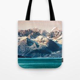 Scenic Alaskan nature landscape wilderness at sunset. Melting glacier caps. Tote Bag