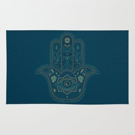 Hamsa Hand in Blue and Gold Rug