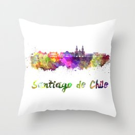Santiago de Chile V2 skyline in watercolor  Throw Pillow
