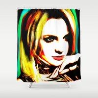 britney spears Shower Curtains featuring Britney Spears - Superstar - Pop Art by William Cuccio aka WCSmack