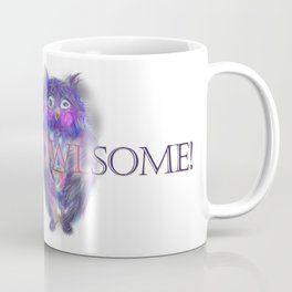 Insomnia. Purple owl with hot chocolate. Coffee Mug