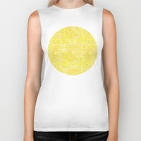 yellow pattern Biker Tanks featuring Yellow Chevron Pattern by Aloke Design