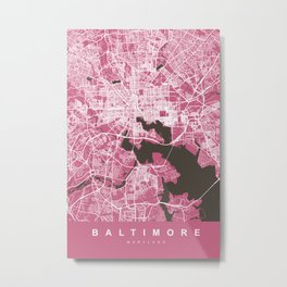 BALTIMORE Map Maryland   Pink   More Colors, Review My Collections Metal Print