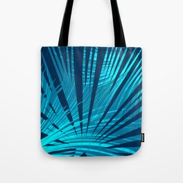 Tropical Blue Fan Palm Leaves Abstract Design Tote Bag