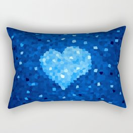 Winter Blue Crystallized Abstract Heart Rectangular Pillow