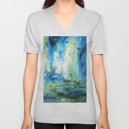 Contemporary Abstract Painting Spring Rain Unisex V-Neck