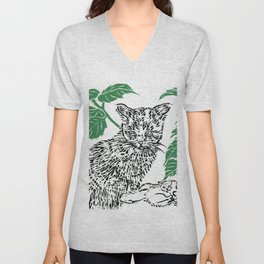 woodblock print Unisex V-Neck