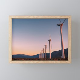 California Desert Windmills at Sunset with Mountain Vistas Framed Mini Art Print