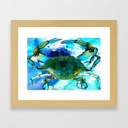 Blue Crab - Abstract Seafood Painting Framed Art Print