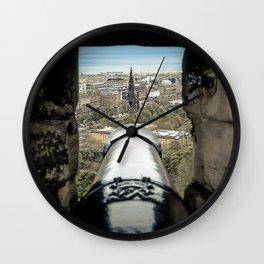 scott monument from Edinburgh castle gun Scotland Wall Clock
