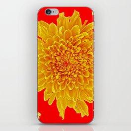 Golden Yellow Chrysanthemums Red Art Design iPhone Skin