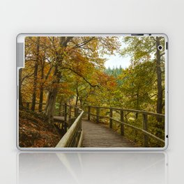 Walkway on the Keswick disused railway path to Penrith above the River Greta. Lake District, UK. Laptop & iPad Skin