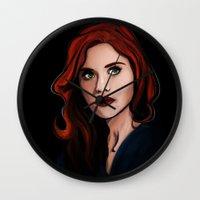 lydia martin Wall Clocks featuring Lydia by Jennicds