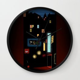 Late Night Neon Lights Wall Clock