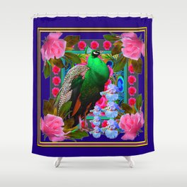 INDIGO & PINK-RED  ROSES GREEN PEACOCK IRIS FLORAL Shower Curtain