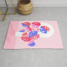 Pretty Monstera Plant in blue and pink Rug